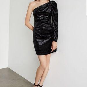 NWT BCBGMAXAZRIA ONE SHOULDER VELVET DRESS $248